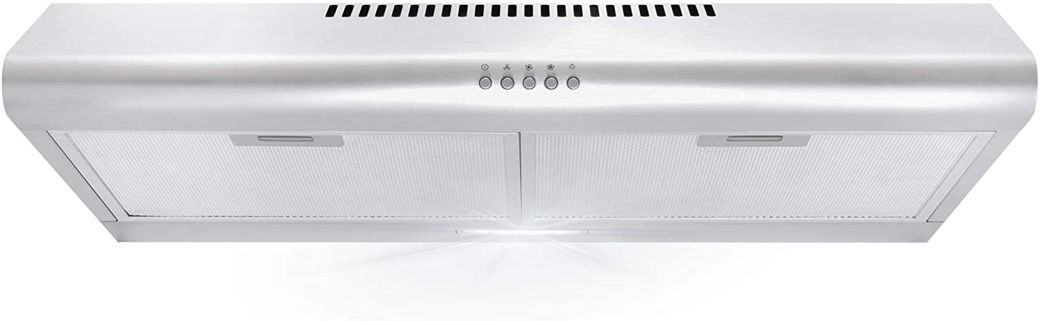 cosmo 5mu30 30 in under cabinet range hood with ducted ductless convertible duct slim kitchen stove vent with 3 speed exhaust fan reusable