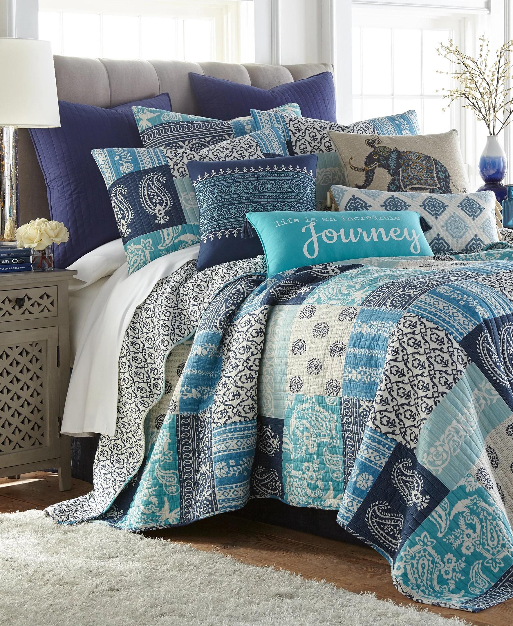 levtex home chandra quilt set queen quilt two standard pillow shams navy blue teal cream quilt 88x92in and pillow shams 26x20in