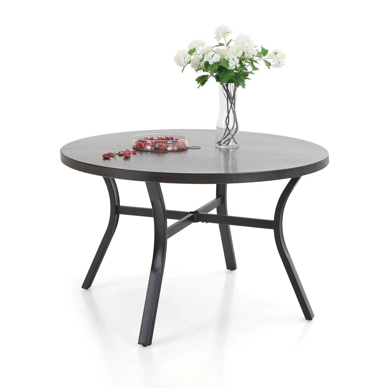 mf studio outdoor patio round dining table metal dining furniture 44 dia x 29 3 h with 2 umbrella hole walmart com
