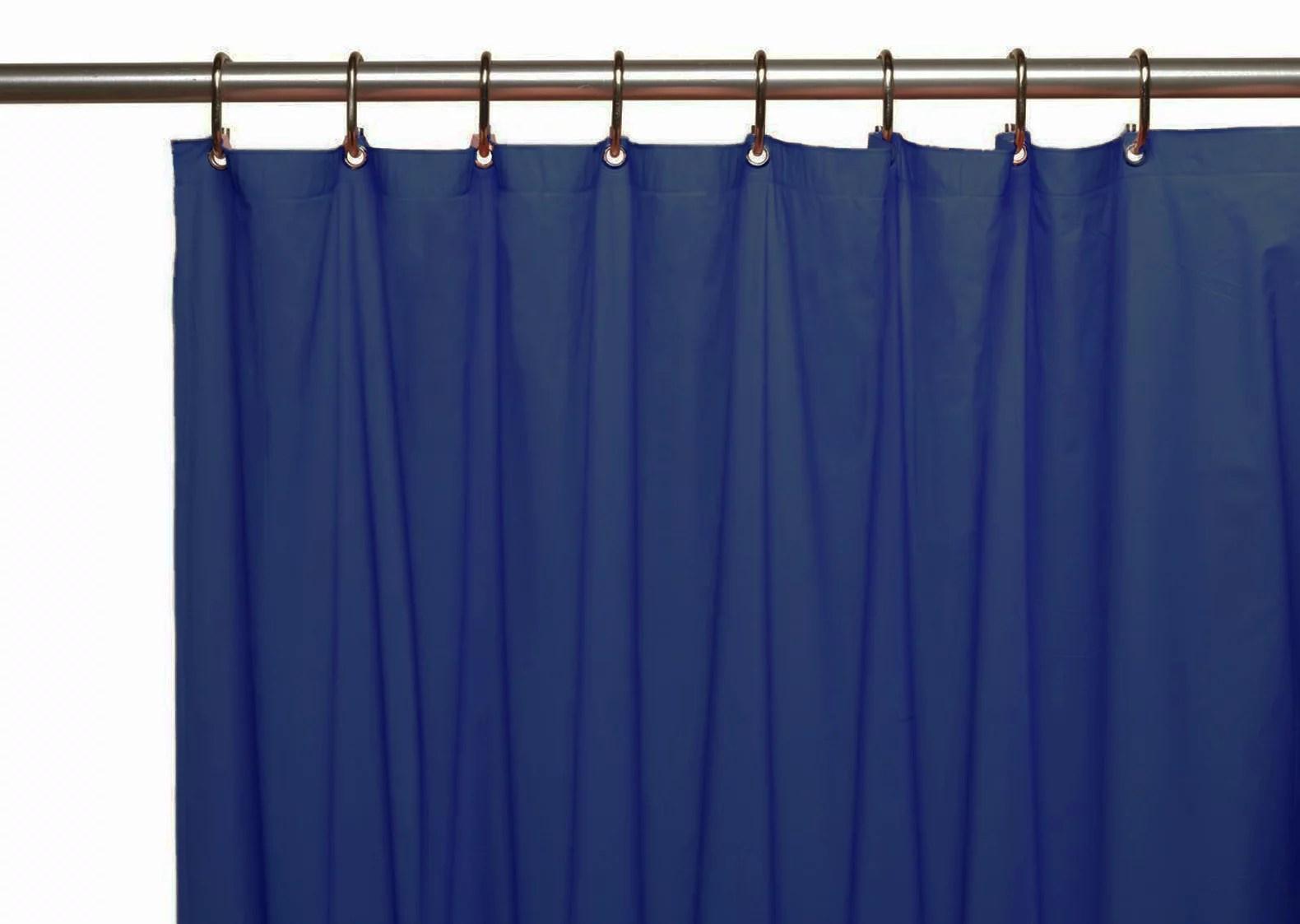 venice elegant home heavy duty vinyl shower curtain liner with 12 metal grommets navy blue