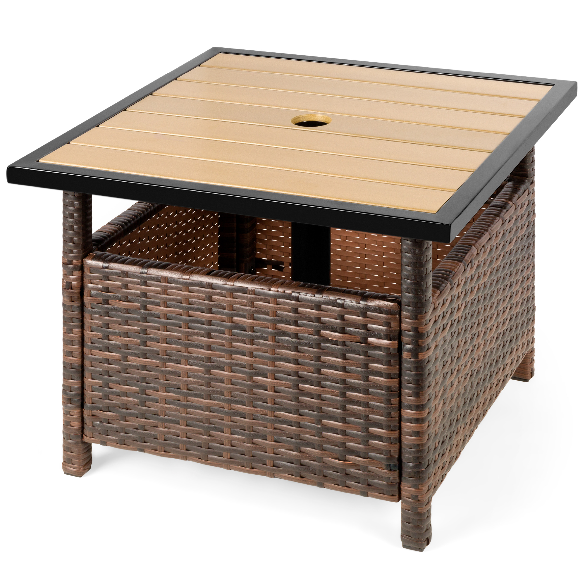best choice products wicker rattan patio side table outdoor furniture for garden pool deck w umbrella hole brown walmart com