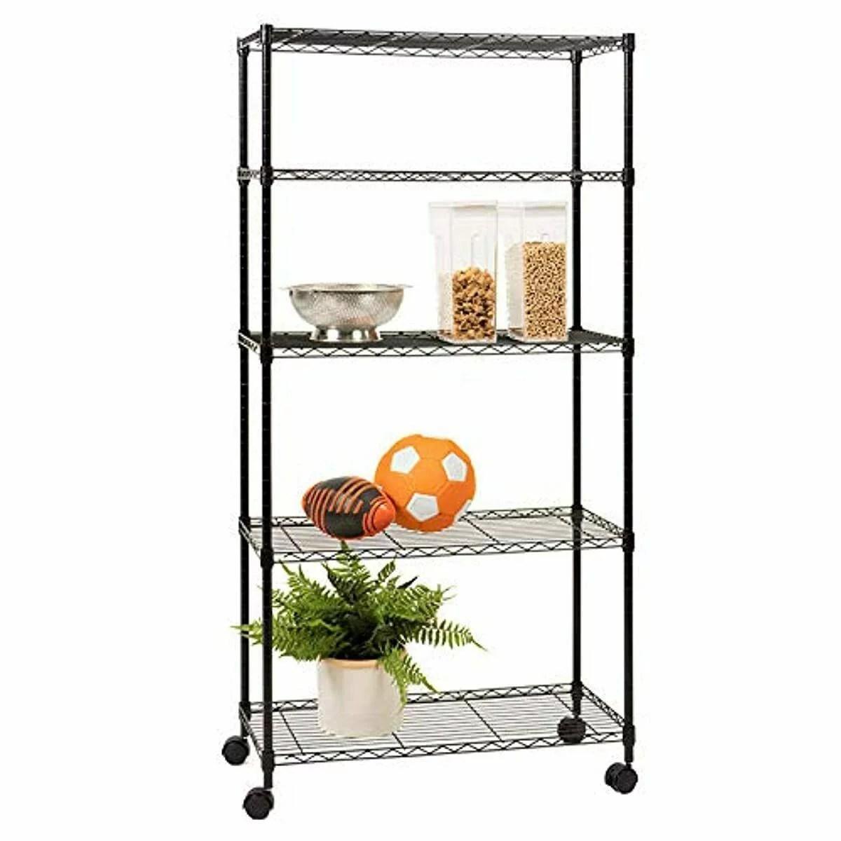 5 shelf metal storage rack heavy duty height adjustable metal storage shelves for home metal storage shelving rack w wheel wire shelving unit for