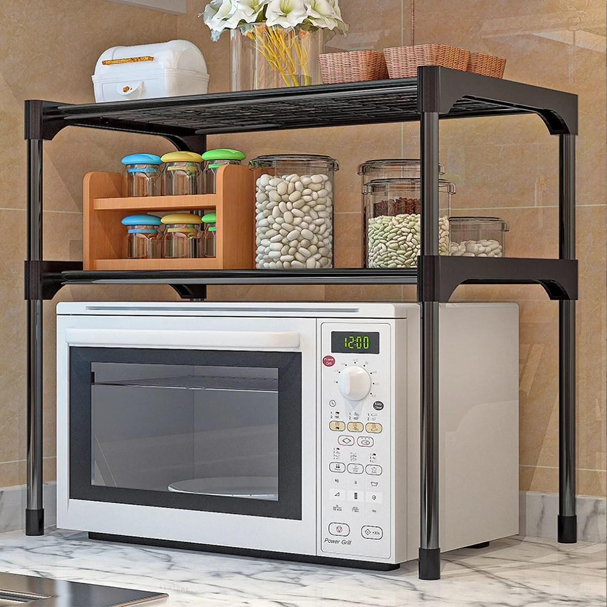 multifunction microwave oven rack shelf oven rack stainless steel kitchen rack storage shelf cabinet holder home kitchen rack 2 tiers