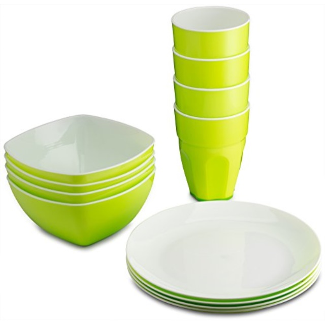 plasti home reusable plastic dinnerware set 12pcs ideal for kids fancy hard plastic plates bows cups in green colors microwaveable