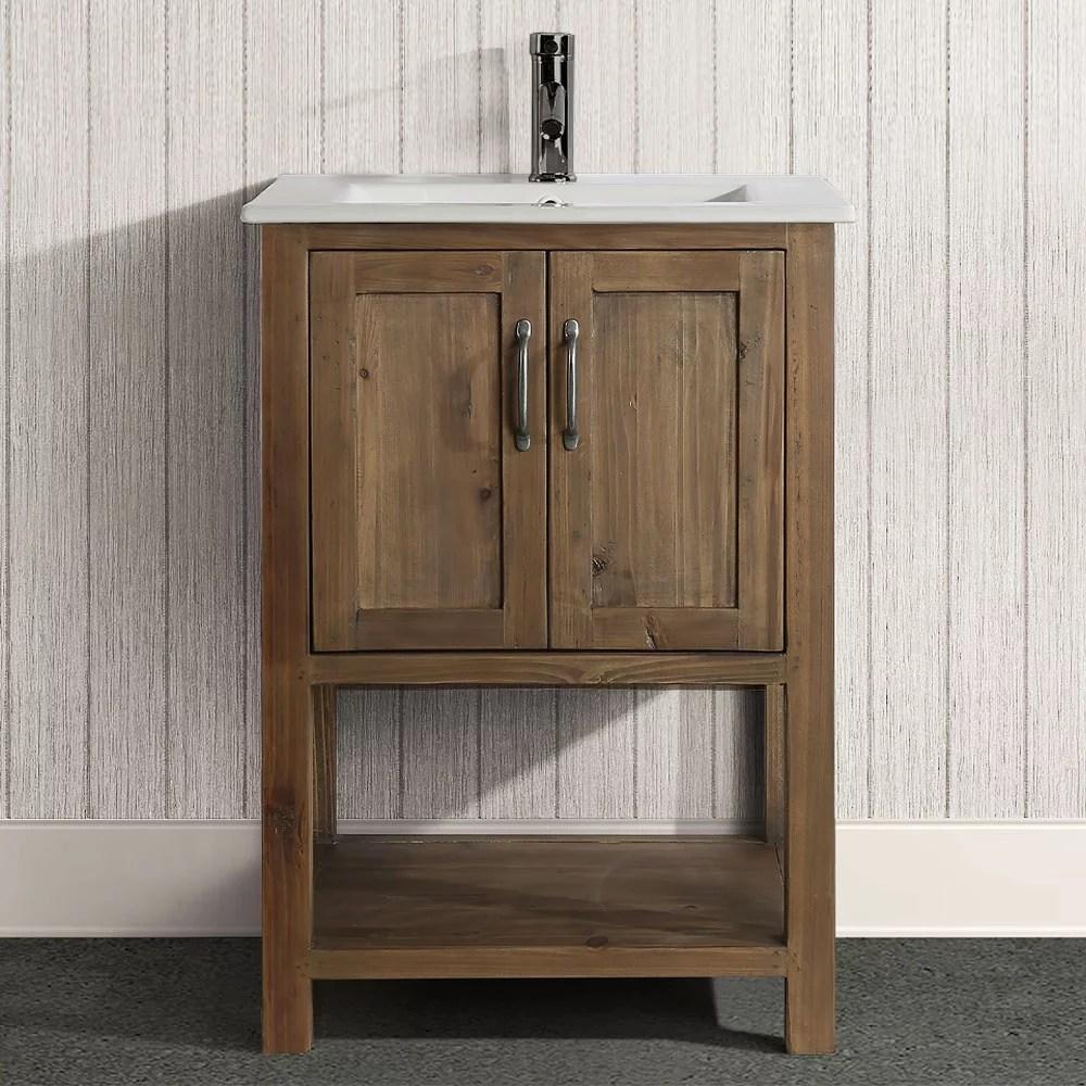 design element austin 24 reclaimed wood single sink bathroom vanity in walnut no assembly required walmart com