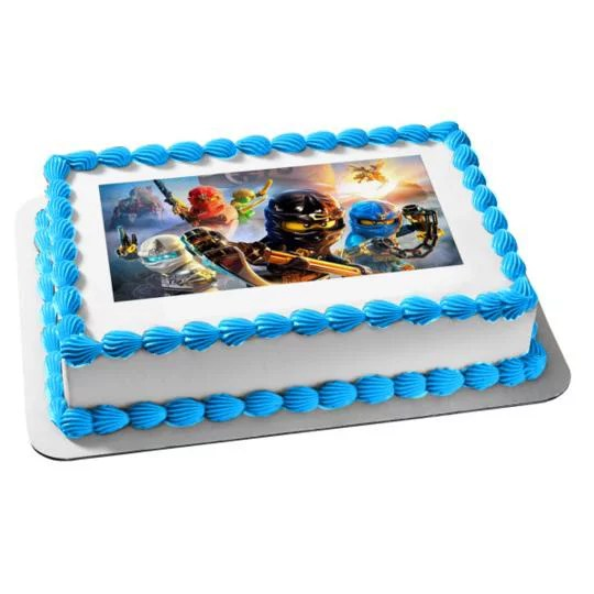 Lego Ninjago Kai Zane Cole Jay Edible Cake Topper Image Walmart Com Walmart Com