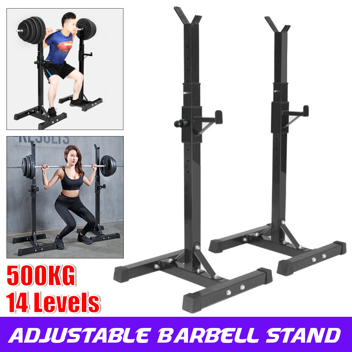 40 66 inch adjustable portable squat power rack weight bench press barbell rack stand holder gym