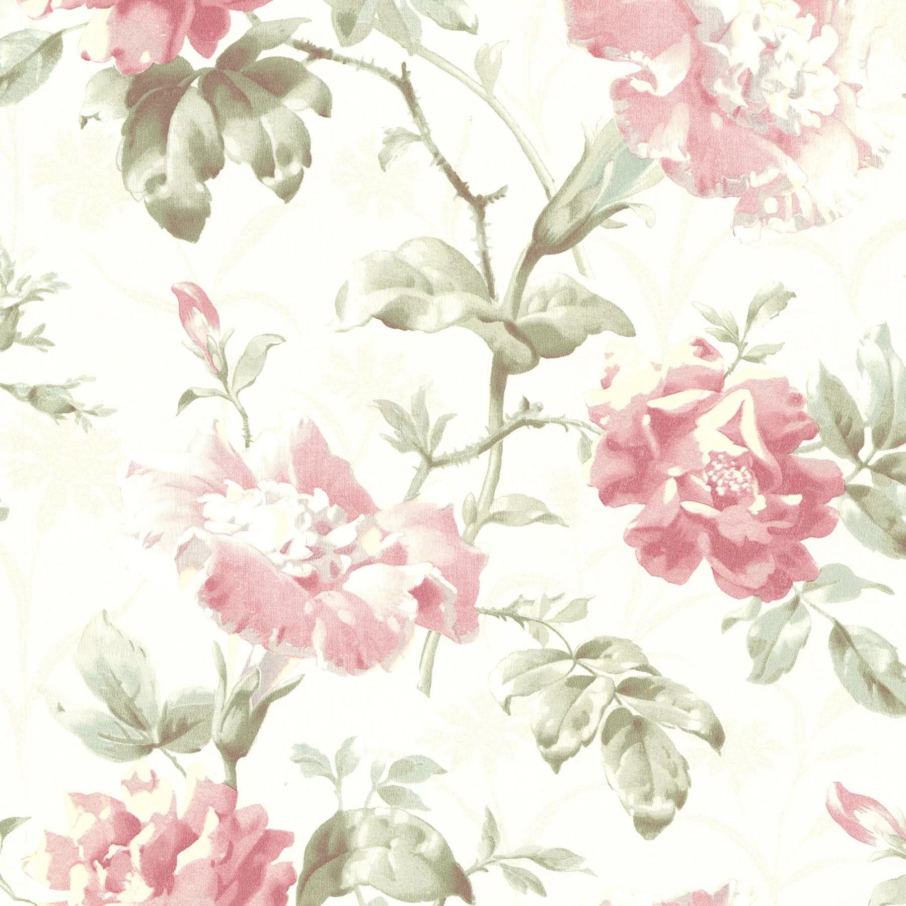 Beacon House Juliana Rose Vintage Floral Wallpaper Walmart Com Walmart Com