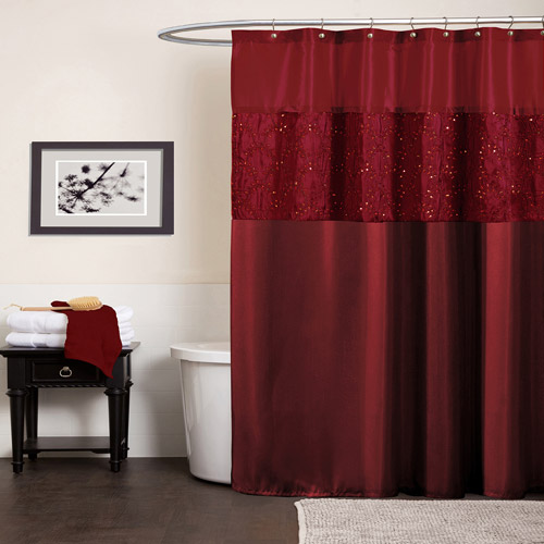 lush decor maria solid polyester shower curtain 72x72 red single