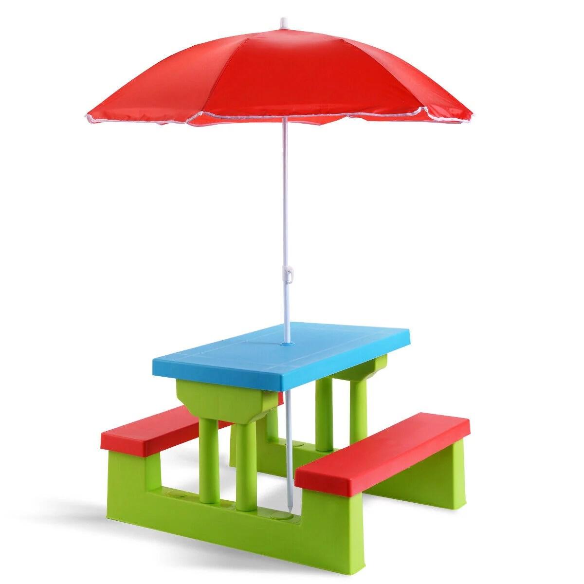 costway table pique nique enfant ensemble table et banc enfant table et chaises enfant en pp table de 67 x 41 x 47 cm avec parasol en nylon 170t