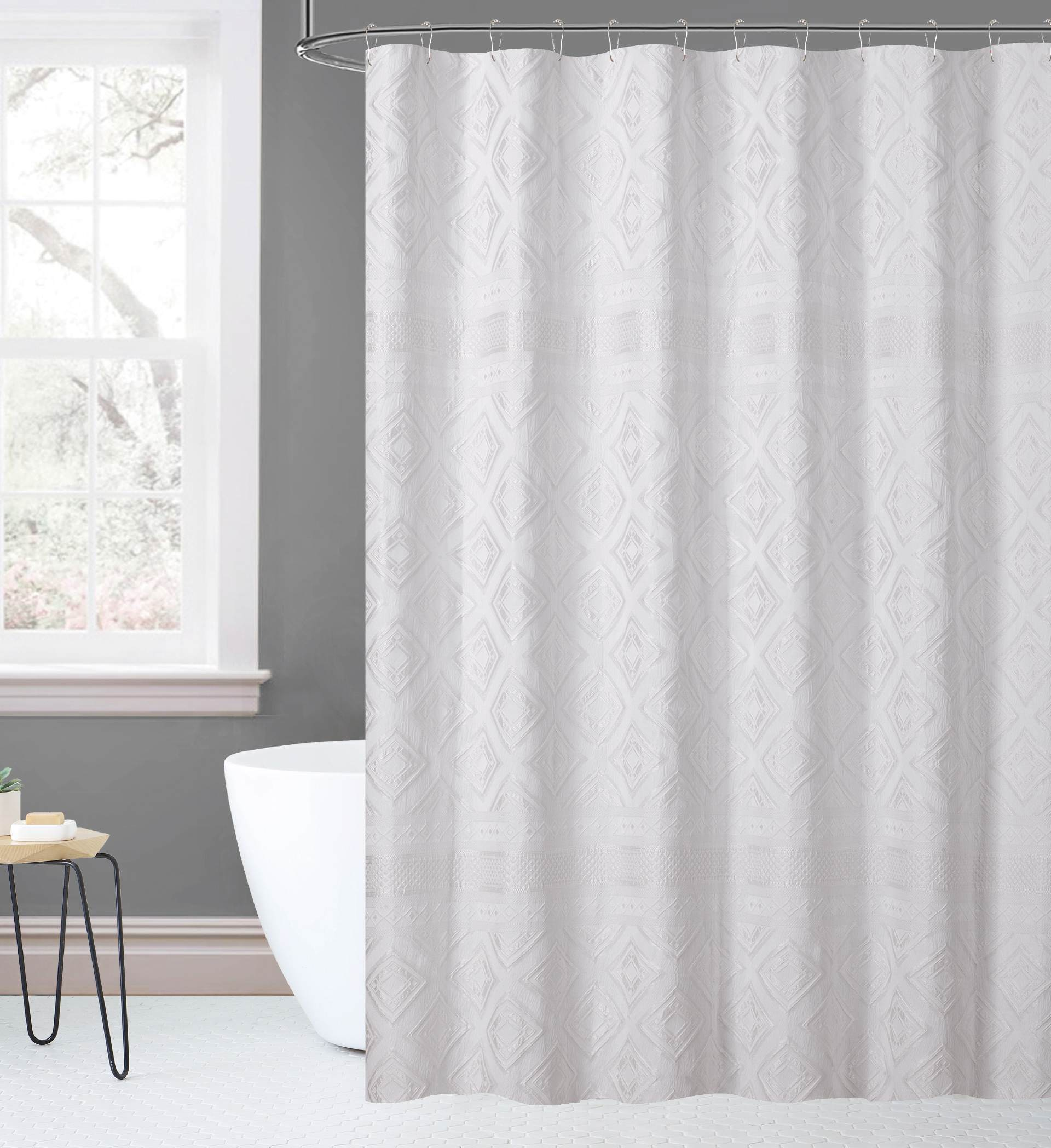Judith Ripka Home Diamond Jacquard Shower Curtain In White