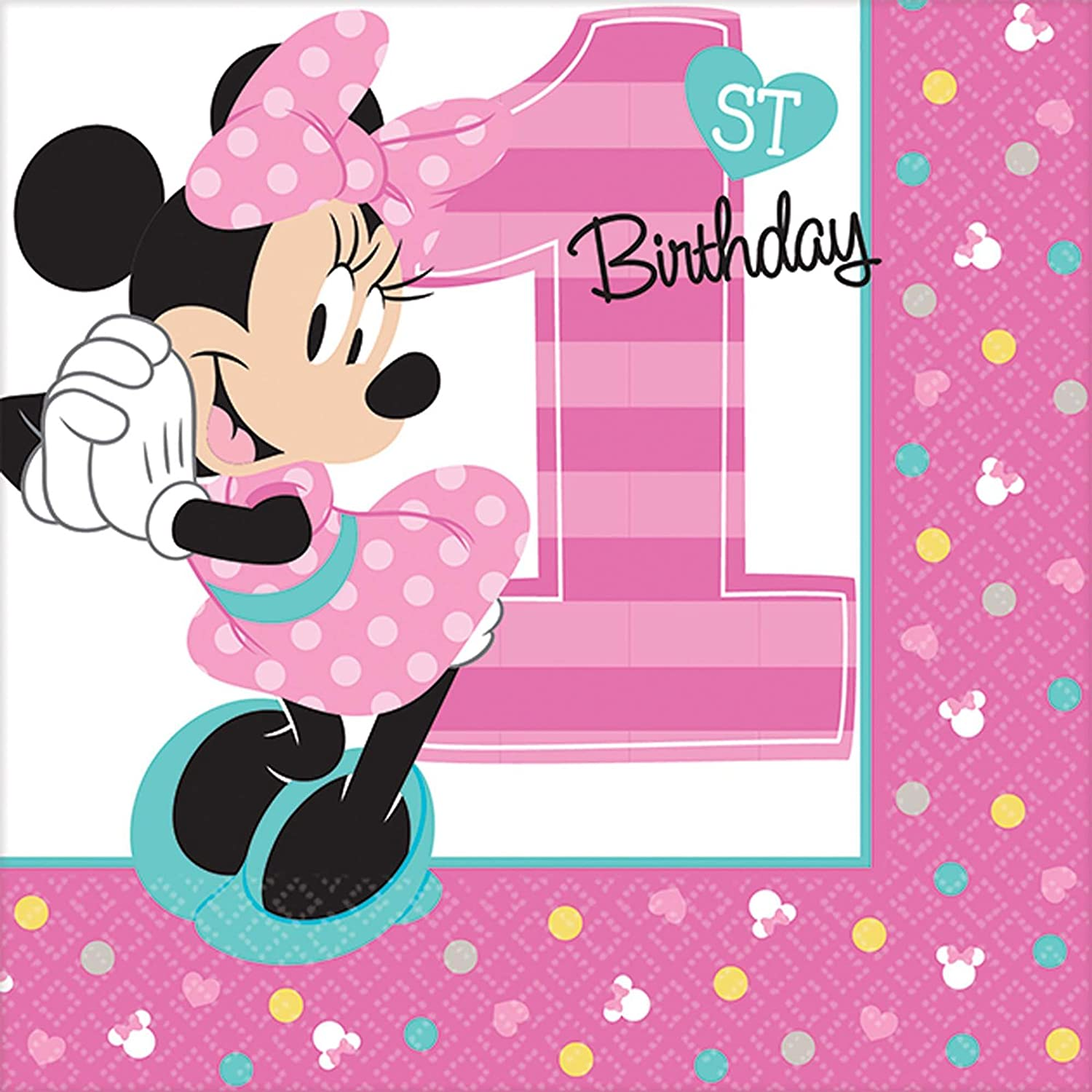 Amscan 1st Birthday Minnie Mouse Beverage Napkins 16 Count Party Supplies Minnie Fun To Be One Walmart Com Walmart Com