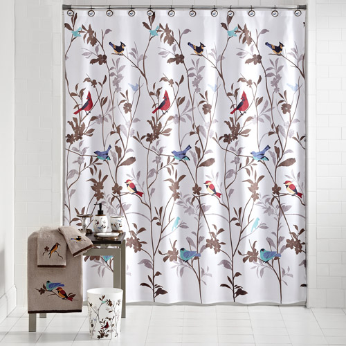 Mainstays Birds In Nature Decorative Bath Collection Shower Curtain
