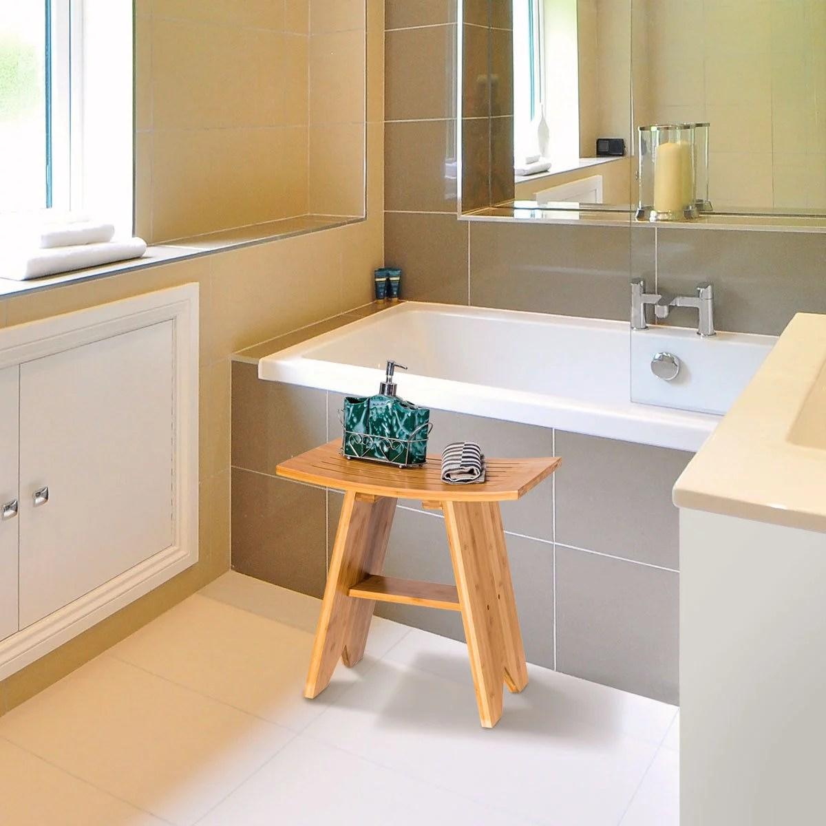 tabouret de douche en bambou etanche siege incurve avec rangement assemblage facile capacite 150 kg pour salle de bain salle de sejour 46 x 30 x