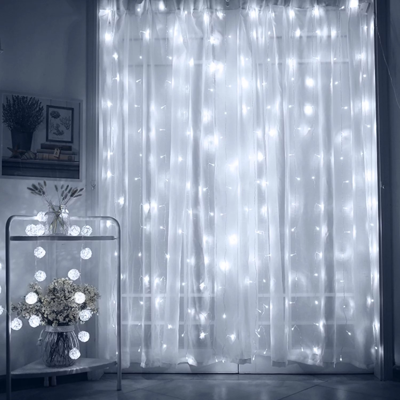 torchstar 9 8ft x 9 8ft led starry christmas string lights dream style curtain lights for wedding bedroom daylight