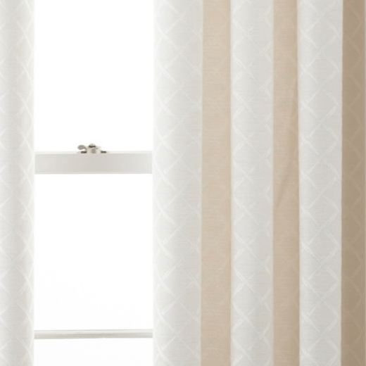 liz claiborne imported quinn lattice grommet top curtain panel polyester lining ivory
