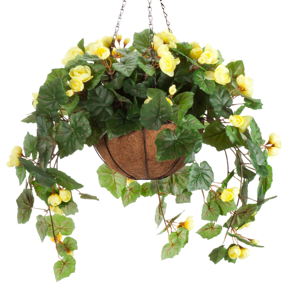 oakridge miles kimball fully assembled artificial begonia hanging basket 10 diameter and 18 chain yellow polyester plastic flowers in metal and