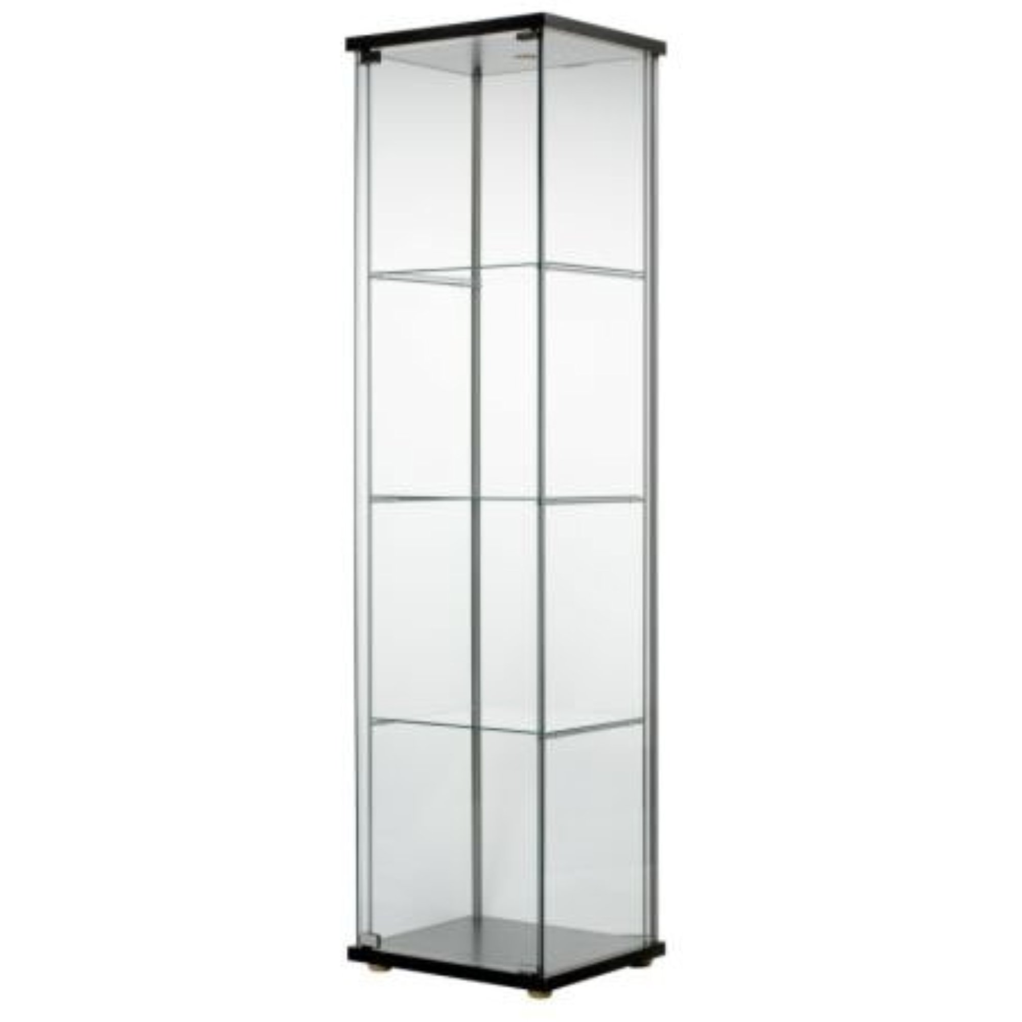 ikea detolf glass curio display cabinet black light is included