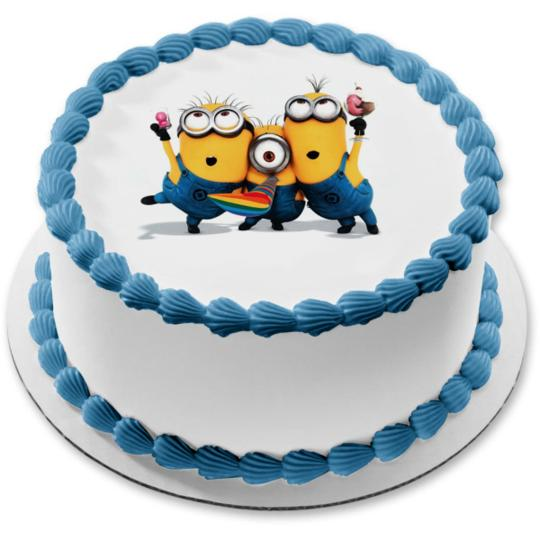 Minions Round Despicable Me Edible Frosting Image Cake Topper Sheet 8 Round Walmart Com Walmart Com