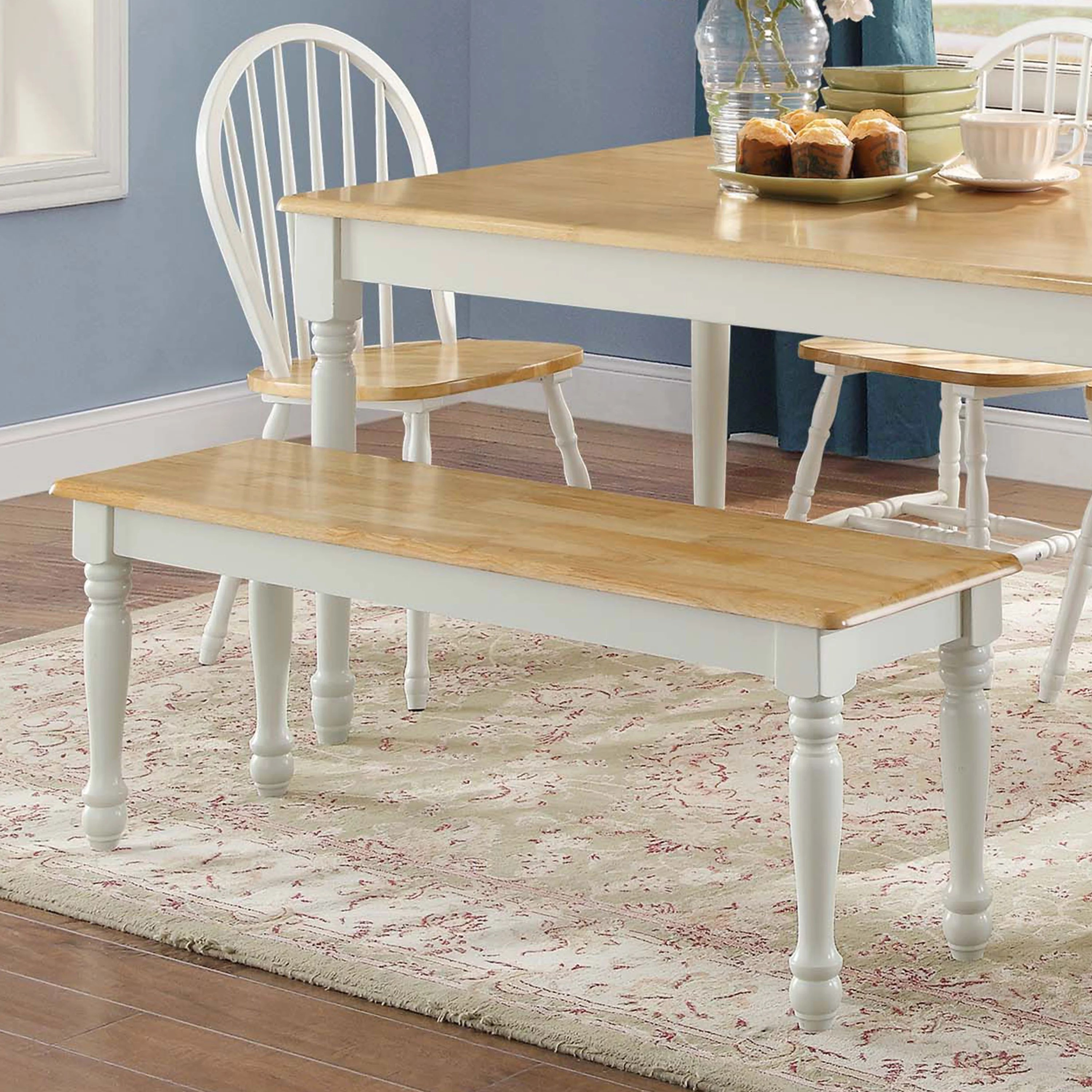 Better Homes Gardens Autumn Lane Farmhouse Solid Wood Dining Bench White And Natural Finish Walmart Com Walmart Com