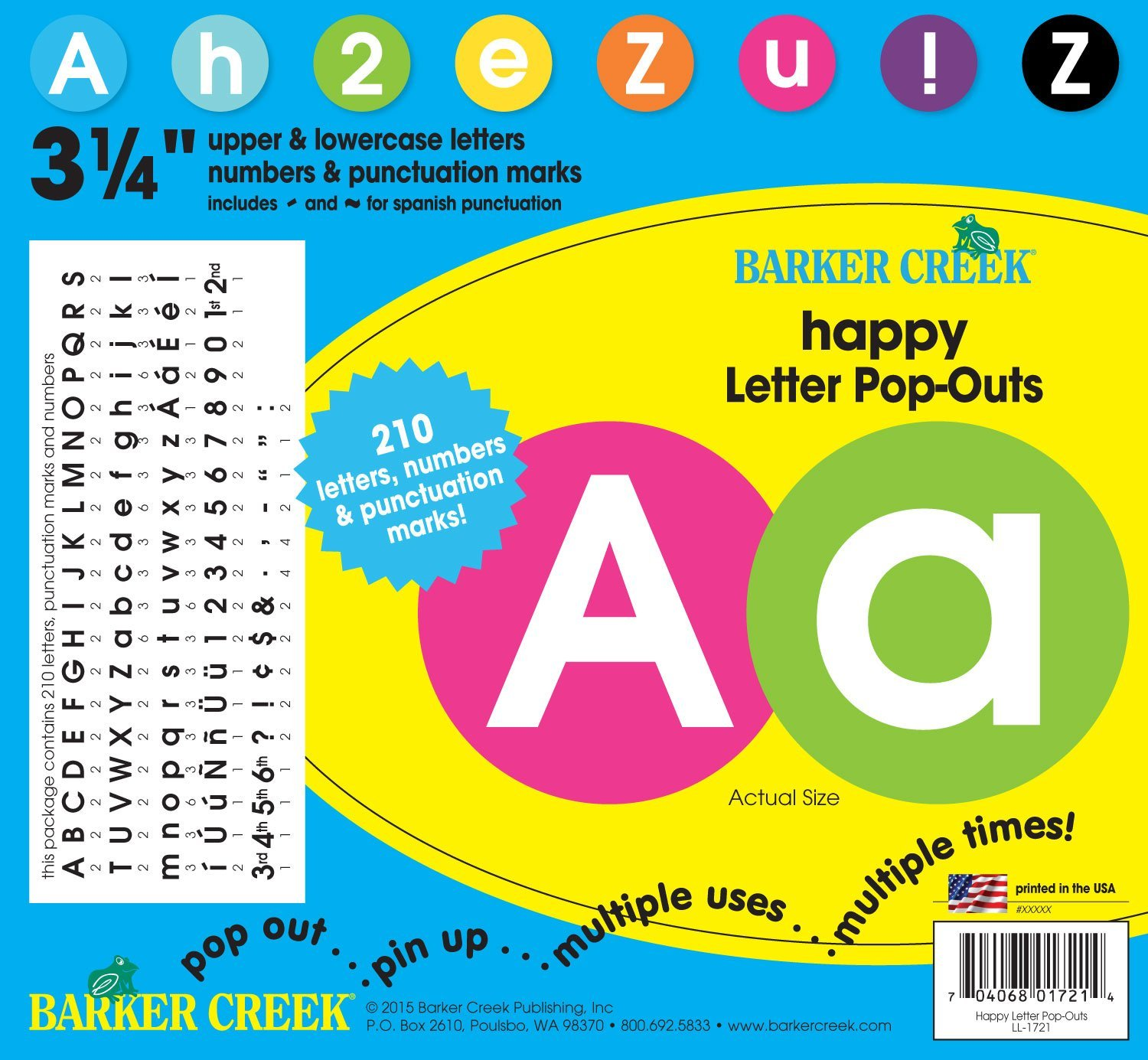 3 1 4 poster letters bulletin board letter pop outs happy ll 1721 3 1 4 inches in diameter by barker creek
