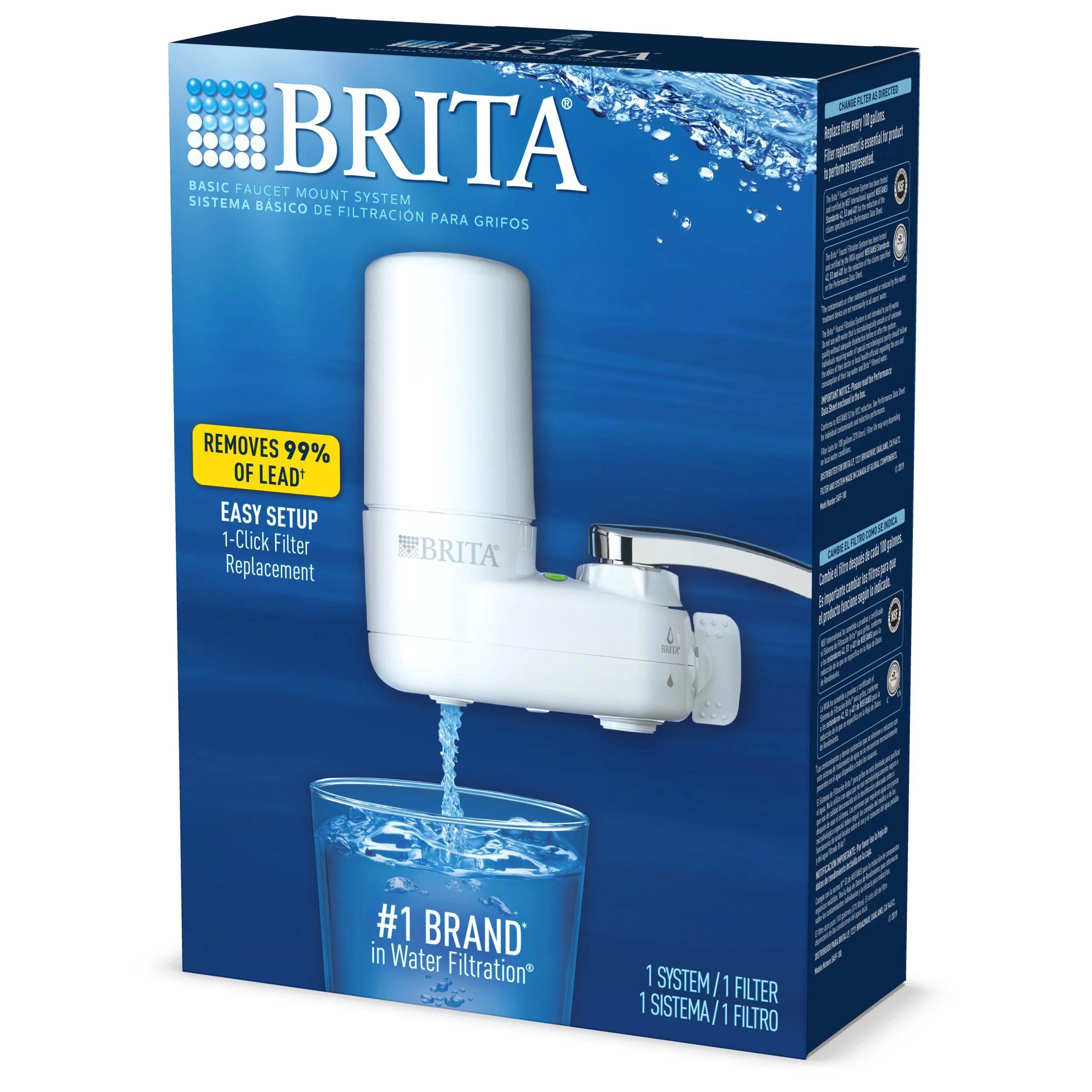 brita basic tap water faucet filtration system white