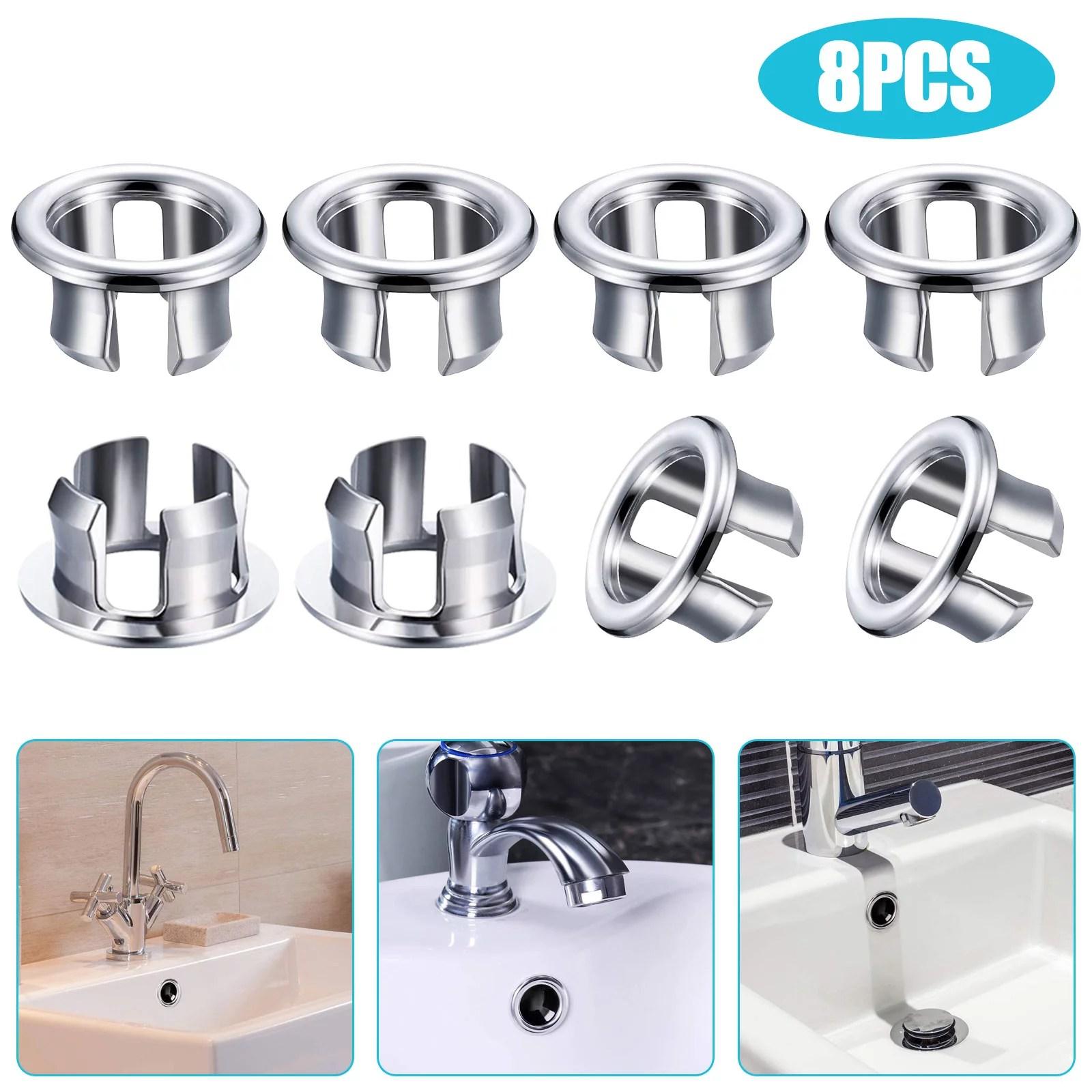 eeekit 24 16 8pcs sink overflow ring kitchen bathroom basin trim bath sink hole round overflow drain cap cover insert in hole spares silver