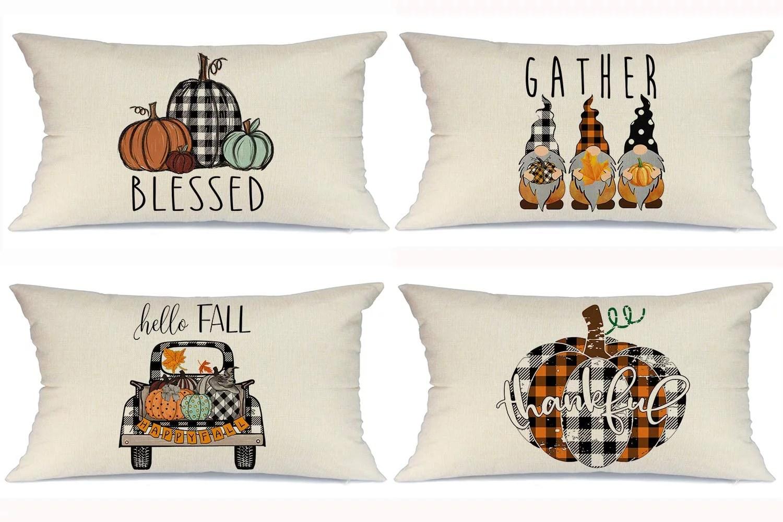 fall pillow covers 12x20 set of 4 for fall decor farmhouse thanksgiving buffalo check plaid gnomes pumpkin outdoor fall pillows decorative throw