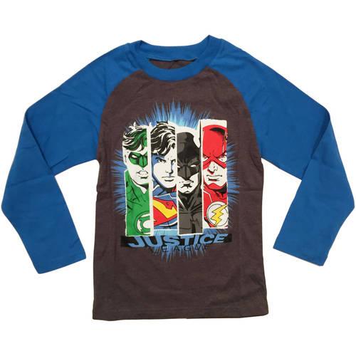DC Comics Justice League Boys Character Fashion Long Sleeve Raglan Graphic Tee