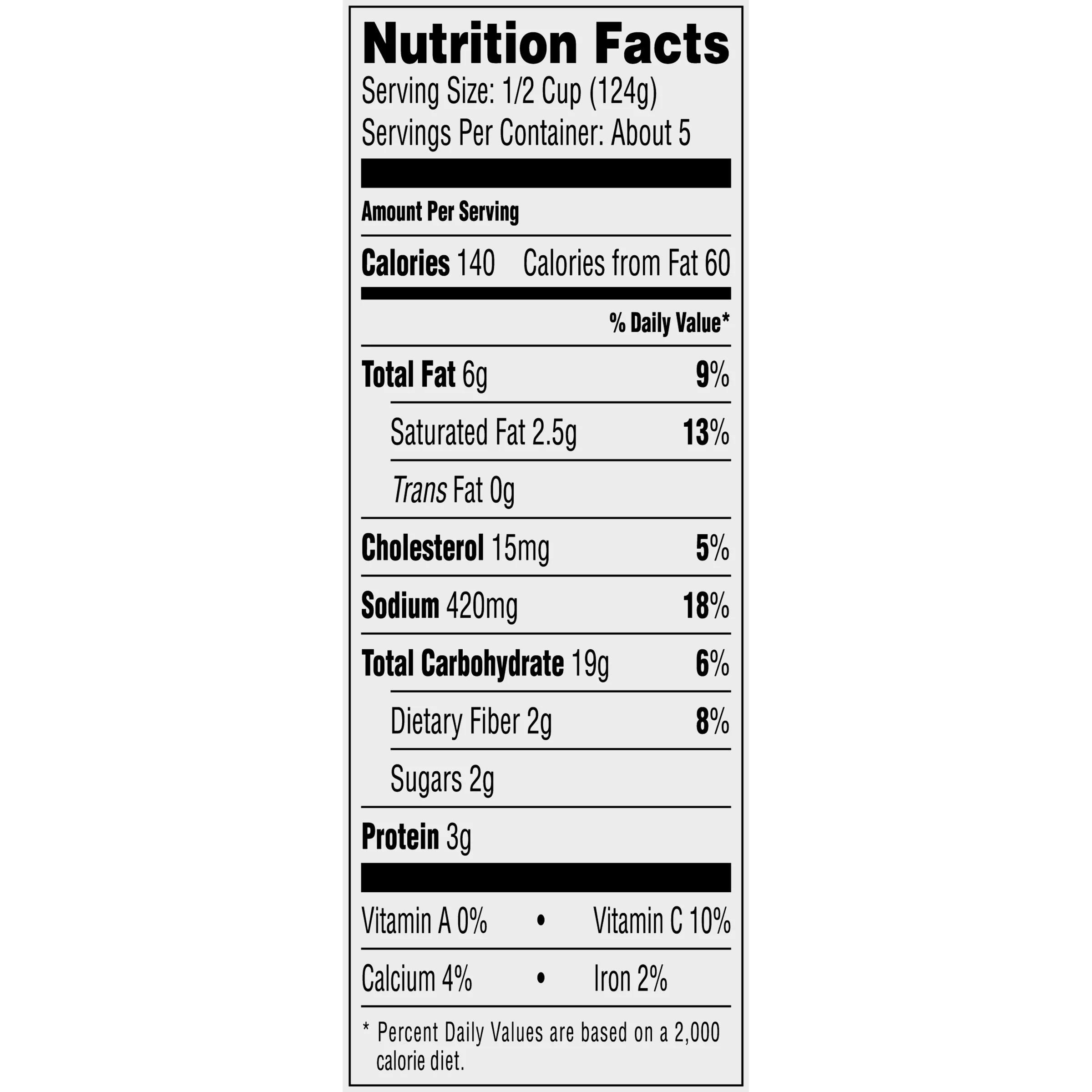 33 mashed potato nutrition label