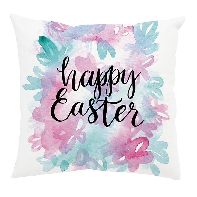 easter pillow covers easter decorations watercolor easter bunny rabbit spring decorative pillows cases for outdoor decor porch 45 45cm pillowcase