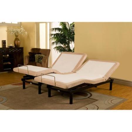 Sleep Zone Supreme Adjule Bed And 10 Inch Hybrid Split King Size Mattress Set