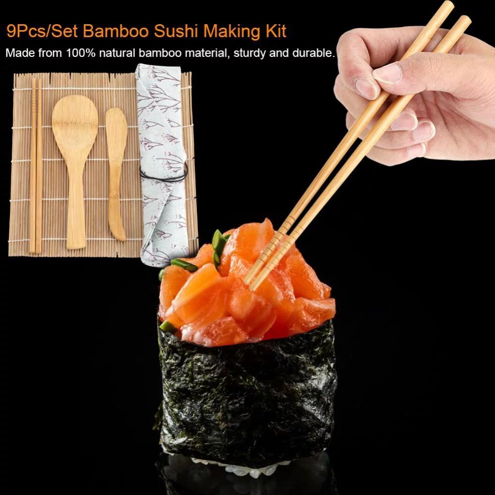 ejoyous kit de fabrication de sushis en bambou 9pcs ensemble comprenant 2 tapis roulants 5 baguettes 1 palette 1 lame de sushi ensemble de