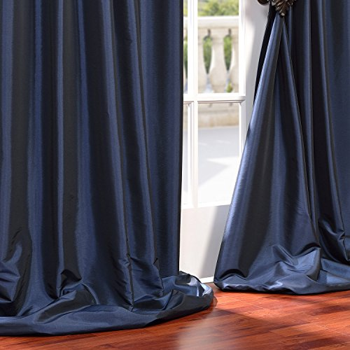 half price drapes ptch bo194010 108 gr grommet blackout faux silk taffeta curtain navy blue