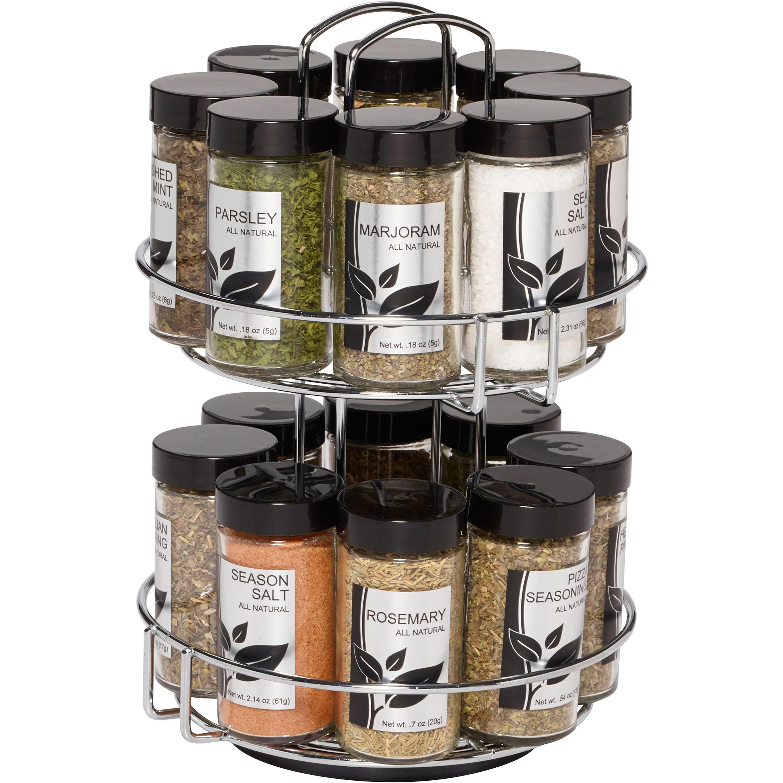 kamenstein 16 jar revolving chrome wire spice rack spices and jars included walmart com