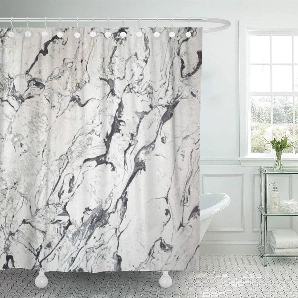 cynlon gray stone marble white black grey bathroom decor bath shower curtain 60x72 inch