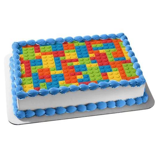 Lego Base Building Block Pattern Edible Cake Topper Image Abpid05082 Walmart Com Walmart Com