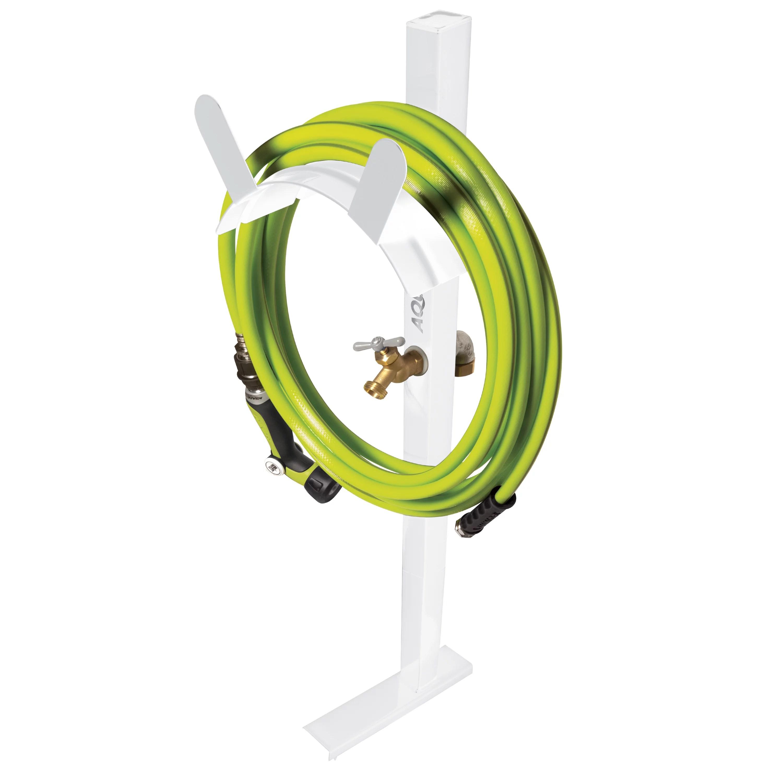 aqua joe sj shsbb wht garden hose stand with brass faucet white walmart com