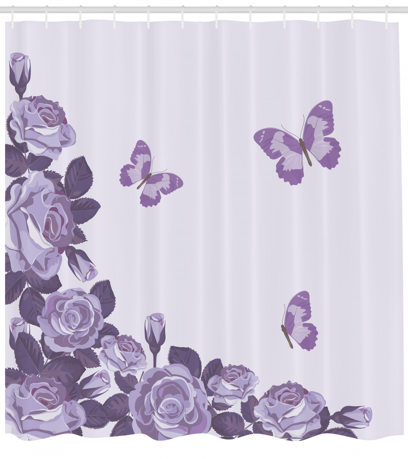 lilac shower curtain bridal composition with rose buds blossoms flying butterflies summer wedding fabric bathroom set with hooks 69w x 70l inches