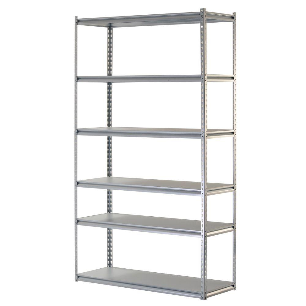 muscle rack 48 w x 18 d x 86 h 6 shelf steel shelving unit 4800 lb capacity silver
