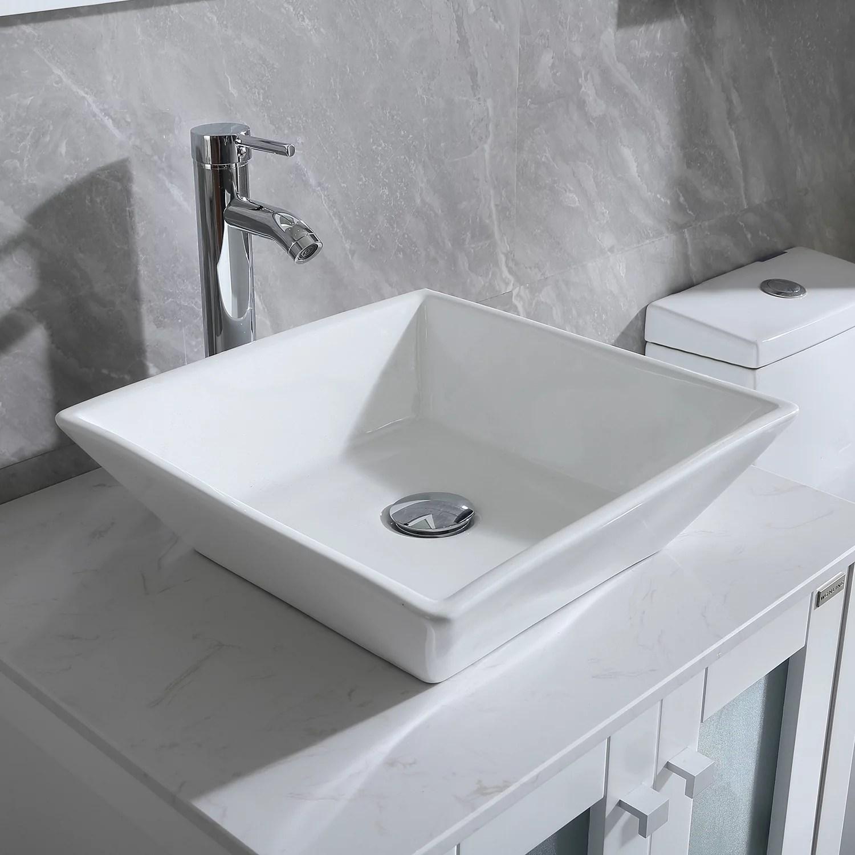 wonline white bathroom ceramic porcelain vessel sink faucet set chrome walmart com