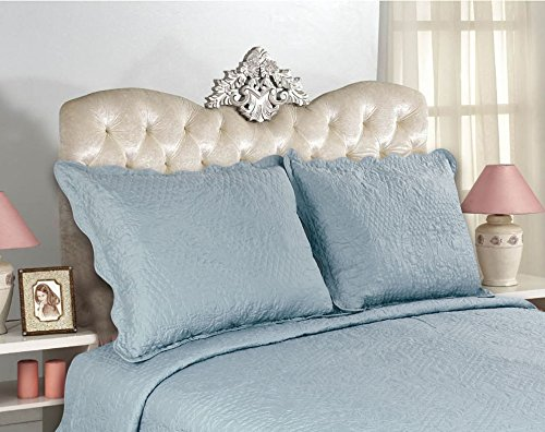 all for you 2 piece embroidered quilted pillow shams king size total 10 colors aqua