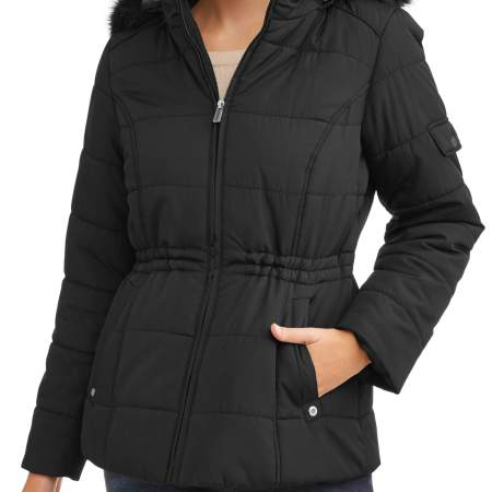 Weather Tamer Women'S Quilted Puffer Jacket W/ Faux Fur-Trim Hood