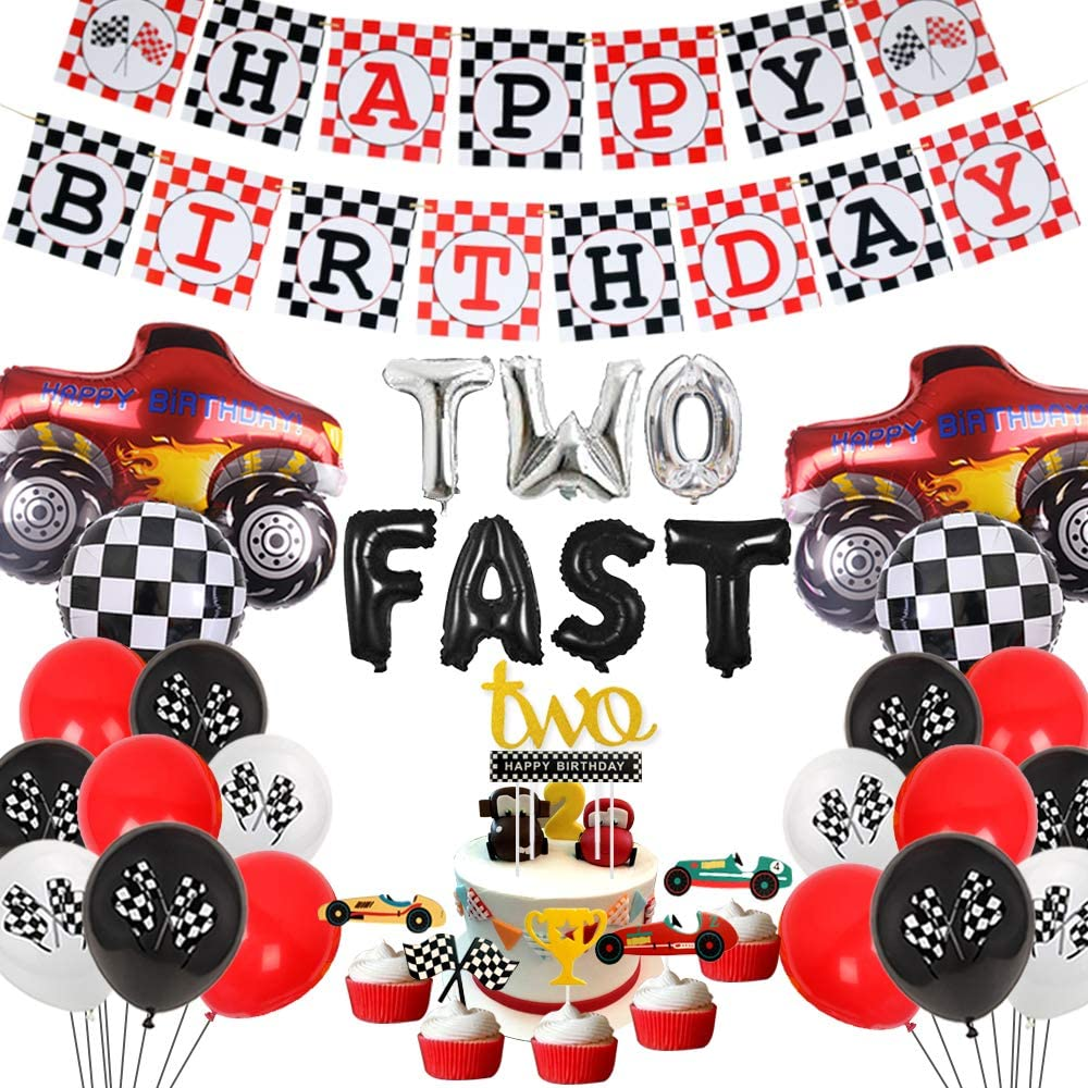 Cars 2nd Birthday Party Decorations Two Fast Racing Car Birthday Party Supplies Monster Truck Balloons Happy Birthday Banner Cake Topper Walmart Com Walmart Com