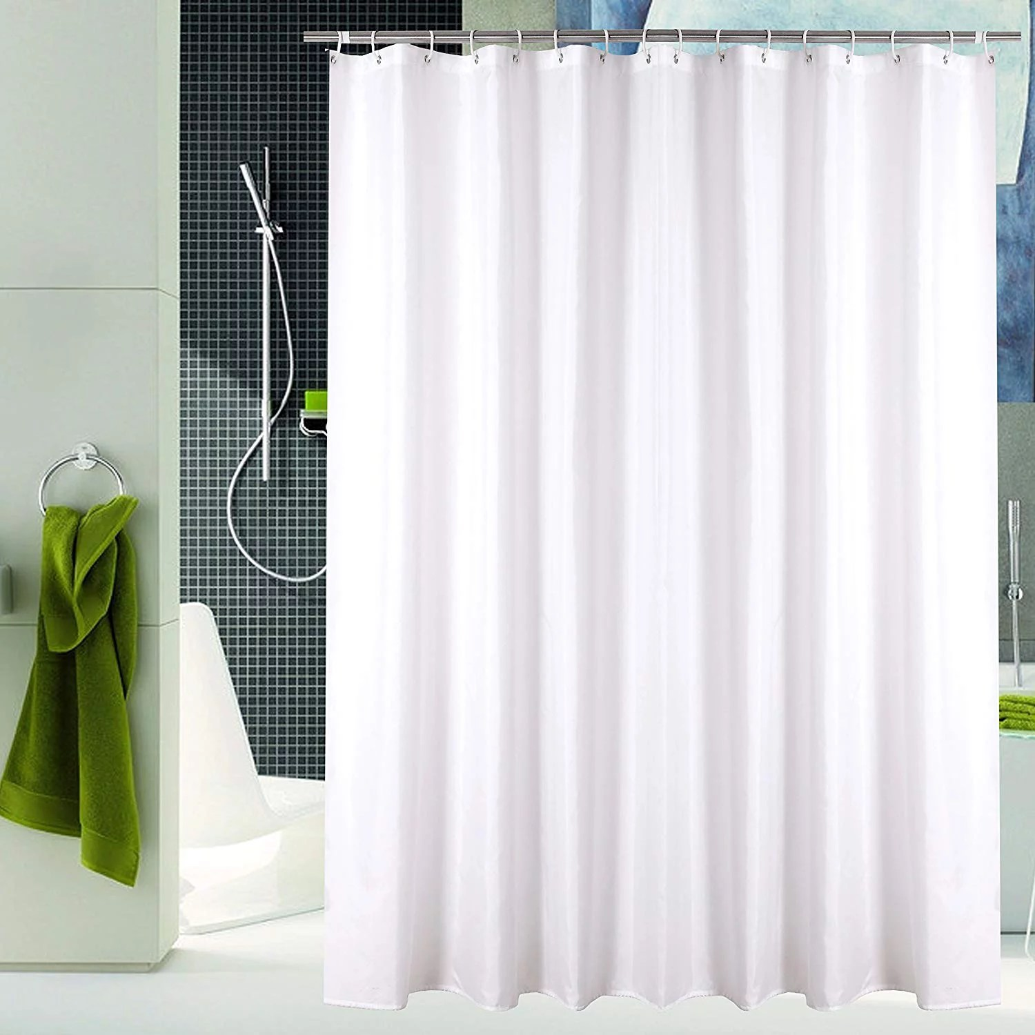 yuunity mildew resistant polyester fabric shower curtain with hooks waterproof non toxic eco friendly washable walmart com