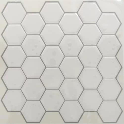 roommates sticktiles pearl hexagon peel and stick backsplash 4 per pack