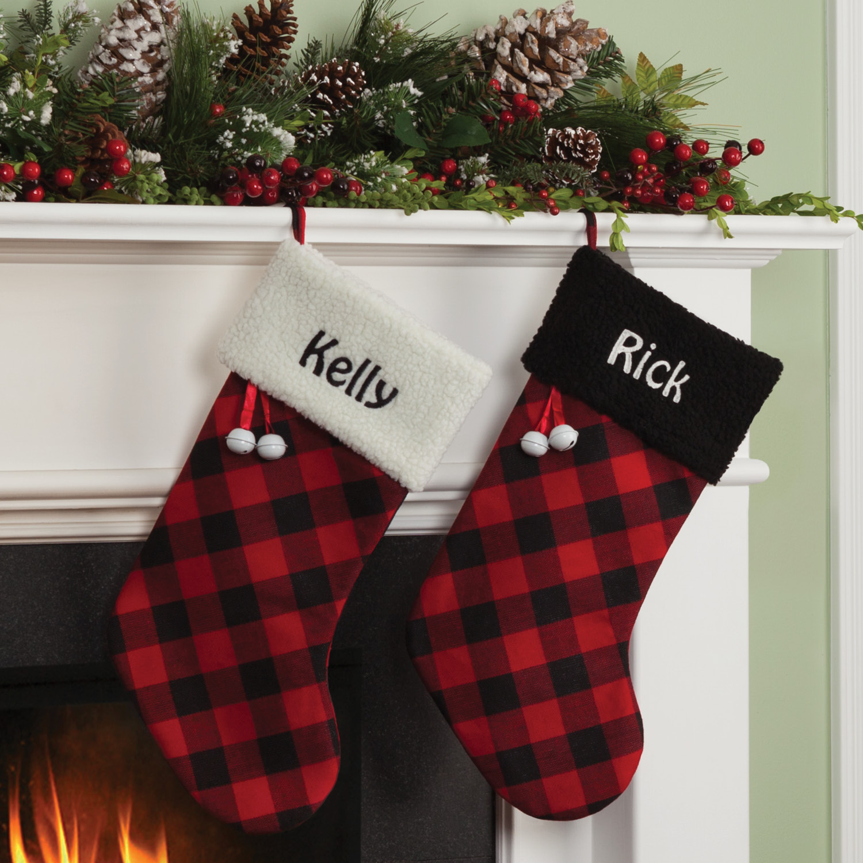 Personalized Buffalo Plaid Christmas Stocking With Black