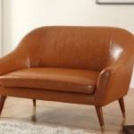 Mid Century Modern Bonded Leather Living Room Loveseat Walmart Com Walmart Com