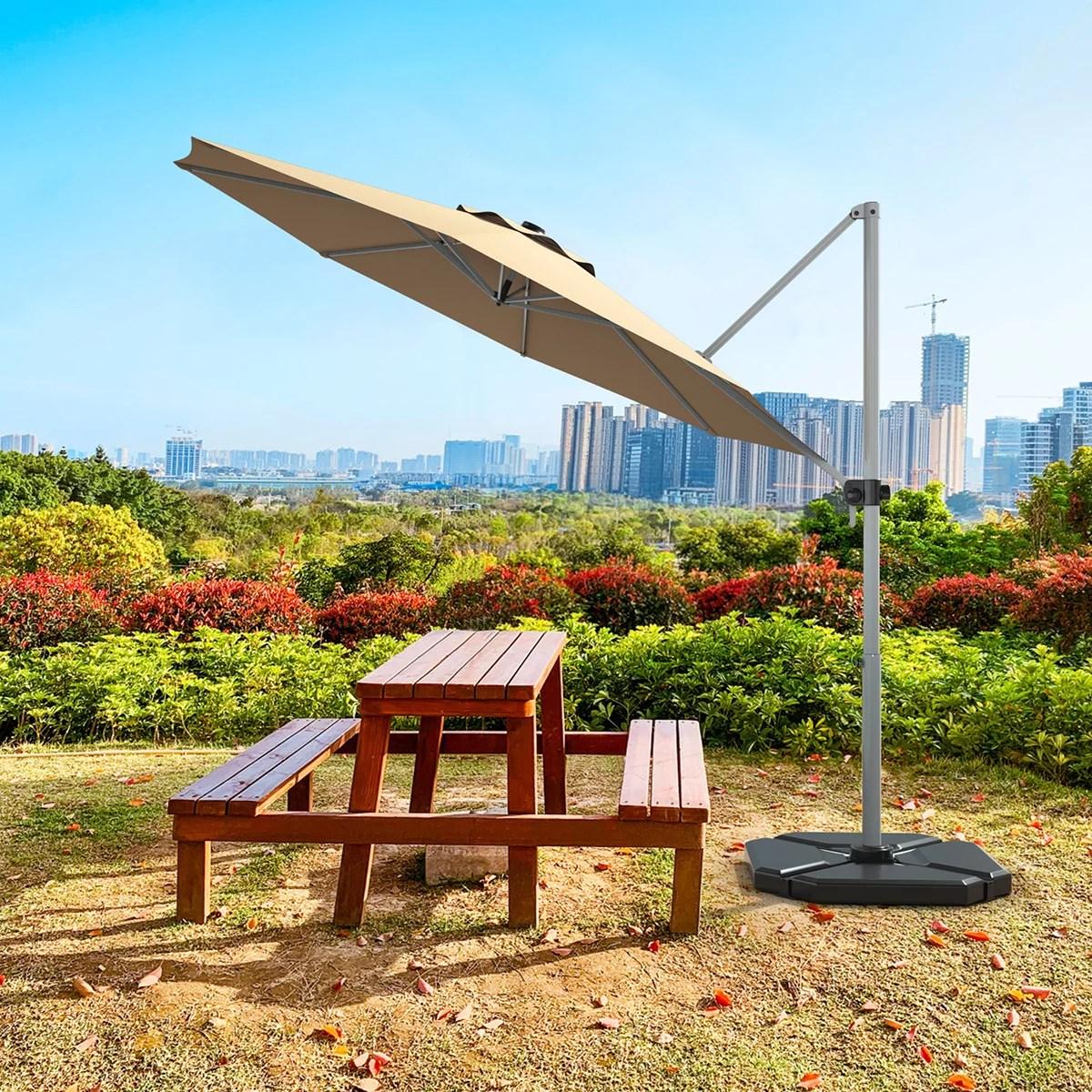 gymax 11ft patio offset hanging cantilever umbrella 360 degree tilt