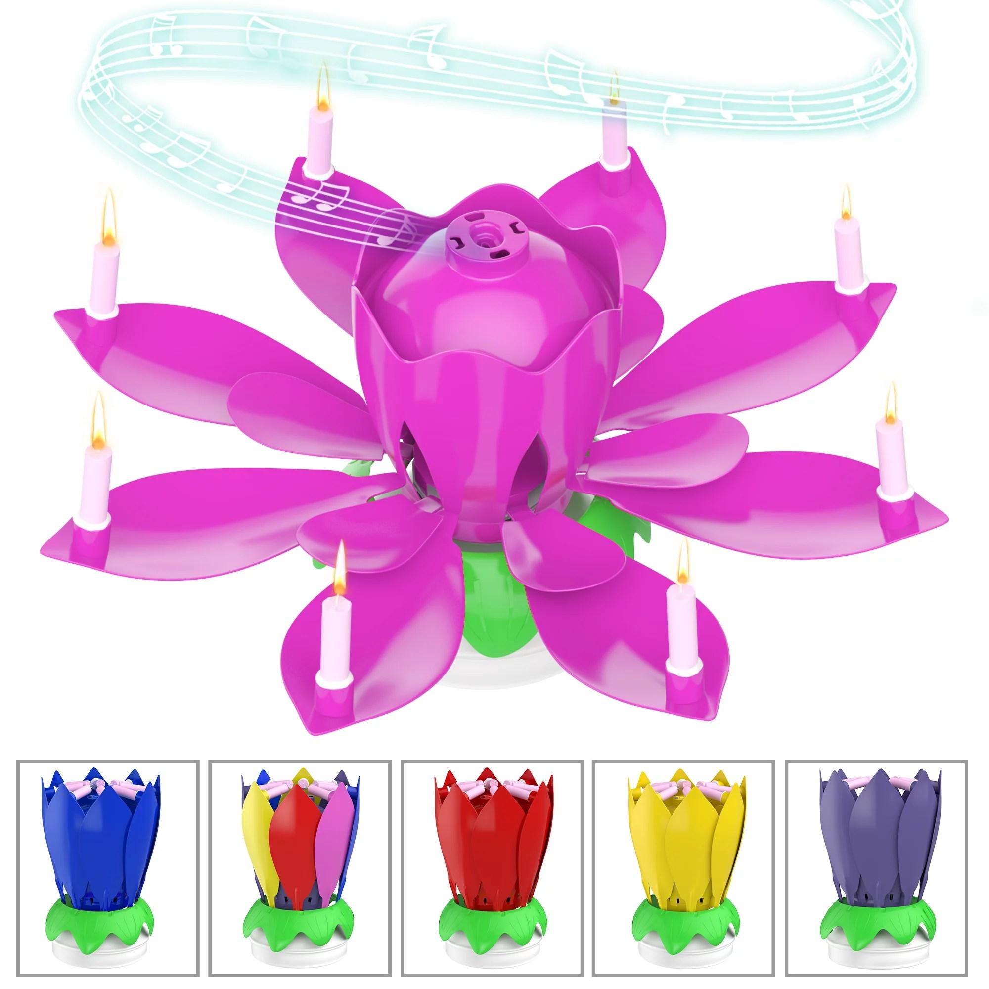 Nylea Birthday Cake Flower Candles With Happy Birthday Music Rotating Setup Pink Walmart Com Walmart Com